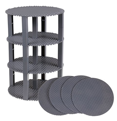 Strictly Briks Premium-Bauplatten - rund & stapelbar - kompatibel mit Allen großen Marken - Set mit 4 Bauplatten (Ø 8