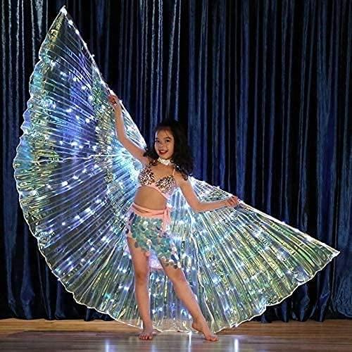 PGKCCNT Niñas Belly Dance Wings DIRIGIÓ Luces Mariposa Alas Performance Disfraz Dancing con Sticks Telescópicos Alas de ángulo de Baile Indio Egipcio
