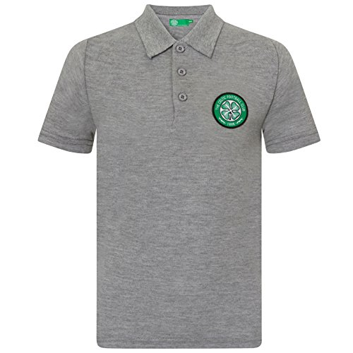 Celtic FC Official Soccer Gift Boys Crest Polo Shirt Grey 8-9 Years