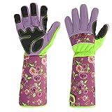 Geloo Women Professional Long Sleeve Trim Gardening Gloves, Garden Gloves (Purple & Black)