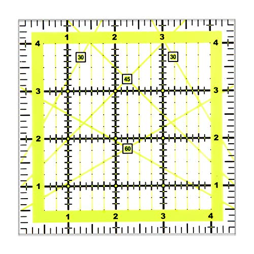 Kuppt Univeral Quilten Lineal, 11.5 * 11.5cm Nähen Lineal, Patchwork Lineal, Schneider Lineal, Transparent Basteln Lineal für Nähen & Quilten