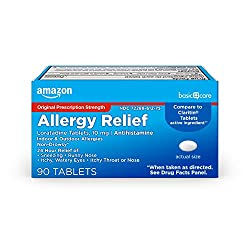 Amazon Basic Care Allergy Relief Loratadine Tablets 10 mg, 90 Count