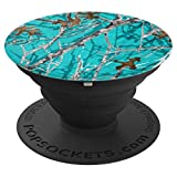 TURQUOISE BACKGROUND TREE BRANCH STYLE CAMOUFLAGE PopSockets Grip and Stand for Phones and Tablets