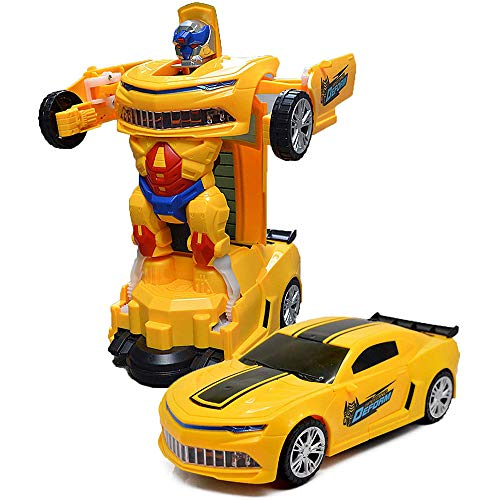 Toysery Robot Car - One Button Deformation Toy for Kids - Kid Car Robot Toy with Colorful Lights - for Age 3 Years and Above
