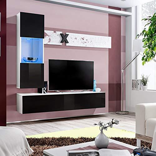 ASM Air H3 - Mueble de pared (160 cm de ancho, puertas de cristal, soporte de televisión, con luces LED de alto brillo, color blanco y negro