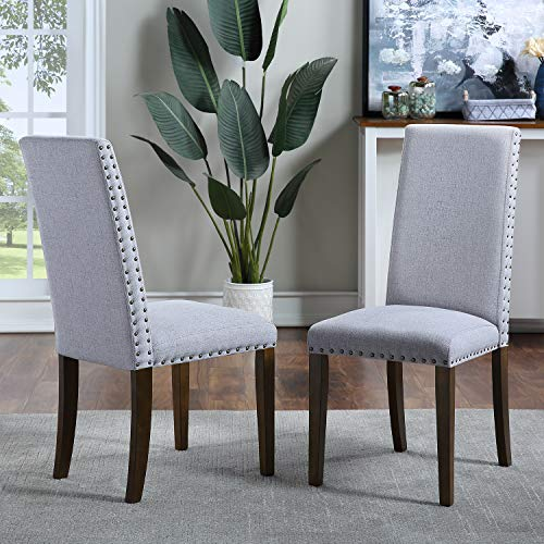 COZEON Mid Century Dining CHiars Set of 2, Modern Rivet Chairs with Solid Wood Legs for Dining Room Kitchen