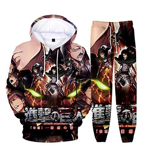 EDMKO Anime Attack on Titan Conjunto de Sudadera con Capucha y Pantalones de chándal Unisex 2 Piezas Sudadera Jogger Pantalones Traje Casual chándal Cosplay Set,A,S