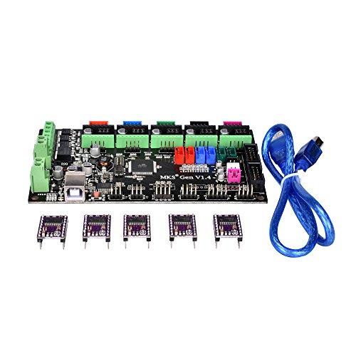 PoPprint MKS-Gen V1.4 Controller-Platine Ramps 1.4 und Mega 2560 Mainboard mit DRV8825 Schrittmotortreiber, mit Kabel, für 3D-Drucker