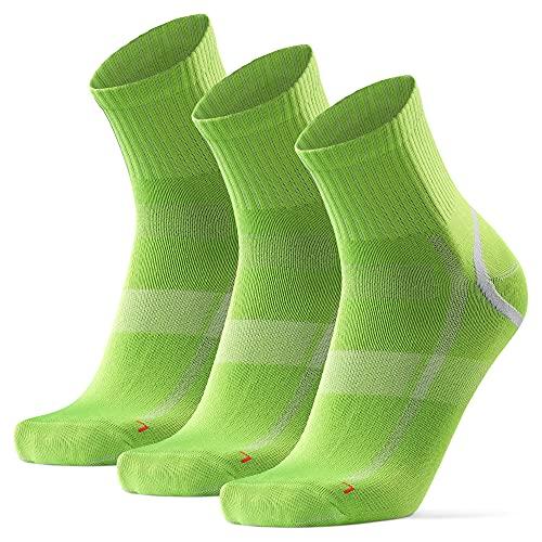 DANISH ENDURANCE Calcetines Deportivos Quarter Pro 3 Pares (Verde/Gris, EU 43-47)