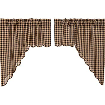 VHC Brands Classic Country Primitive Kitchen Window Curtains - Check Blue Scalloped Swag Pair x King Navy