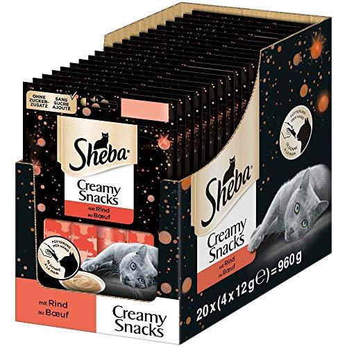 Sheba Creamy Snacks – Cremiges Katzen-Leckerli mit Rind – Praktische Sticks zum aus der Hand Schlecken – 80 x 12g Katzenleckerchen