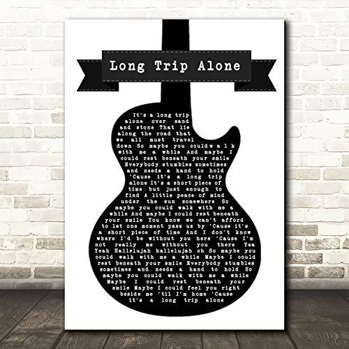 Lange reis Alleen Zwart & Wit Gitaar Song Lyrische Quote Muziek Gift Wall Art Poster Print Medium A4