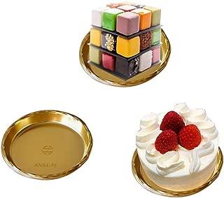 Gold Plastic Mousse Cake Boards Cake Plates Cake Dessert Cookies Pastry Displays Tray, Wedding Birthday Cake Decorative Kit Bakeware Cake Base, 20Pcs (Round)