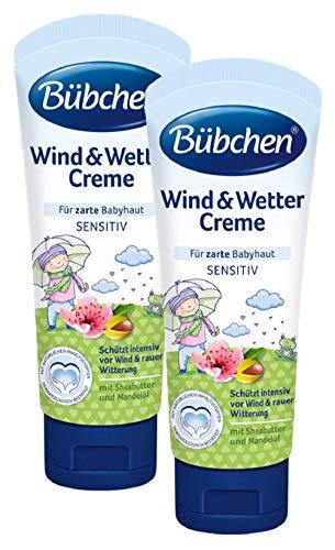 Bübchen Wind und Wetter Creme, sensitive Babycreme für zarte Babyhaut, mit Sheabutter und Mandelöl, Menge: 2 x 75 ml