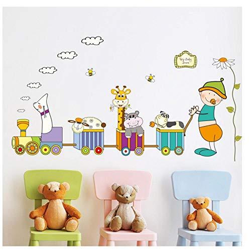 MINGKK - Adhesivo decorativo para pared, diseño de tren de animales