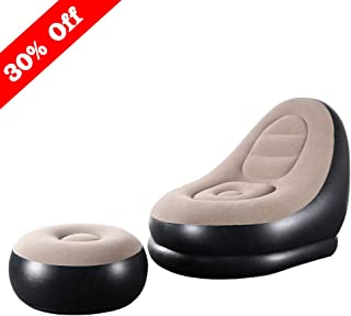 Skyshc Inflatable Lounge Chair with Ottoman Blow Up Chaise Lounge Air Lazy Sofa Set Indoor Outdoor