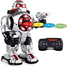 Latest 2019 Model RoboShooter Remote Control Robot Toy For Boys & Girls Aged 5 6 7 8 9 And Up, Toy Robot For Kids Now With Voice Recording – RC Robot For 5+ Year Olds - Fires Disks, Dancing & Talks