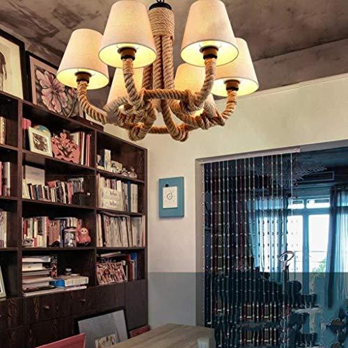 L-WSWS Chandelier Retro del metal colgante lámparas originales y el cáñamo cuerda aro Finalizar accesorio Lámpara Lámpara de techo del LED, 70 * 50cm Cuarto (Color : 70 * 50cm)