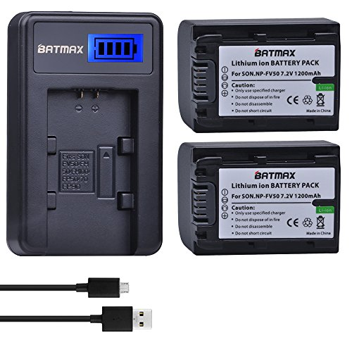 Batmax 2 Packs Battery + LCD Charger for Sony NP-FV30,NP-FV40,NP-FV50...