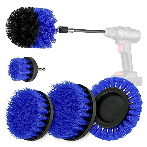 Juego de cepillo para taladro, cepillo de limpieza con destornillador inalámbrico, cepillo de limpieza con soporte magnético de 1/4 pulgadas, cerdas de nailon para alfombra y tapicería
