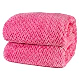 PAVILIA Luxury Flannel Fleece Blanket Throw Twin Hot Pink | Soft Decorative Jacquard Weave Microfiber Throw for Bed Sofa Couch | Velvet Textured Leaves Pattern | Lightweight Plush Cozy Warm | 60'x80'