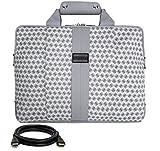 "VanGoddy Modern White Messenger Bag for MSI GT Series/Dominator/Prestige/Apache/Mobile Workstation/Phantom / 14""-15.6in + 12FT HDMI Cable"
