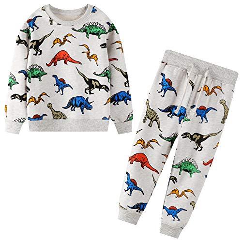 JinBei Tuta Sportiva Bimbo Grigio Dinosauro Cotone Autunno Inverno Pullover Manica Lunga Maglieria Felpe Pantaloni Set Abbigliamento Scuola Bambini e Ragazzi Tuta Bambino 2-7 Anni