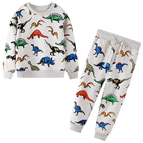 Trainingsanzug Set für Kinder Jungen Dinosaurier Drucken Jogginganzug Pullover und Hosen Anzug Baumwolle Sportanzug Herbst Winter Alter 2-7 Jahre