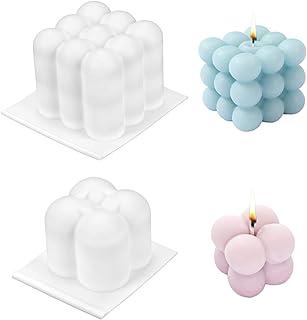 Moule pour Bougies, 2 PCS DIY Bougies Moule 3D Cube Boule silicone pour la Fabrication de Bougies, Savon, Gâteaux, Chocola...