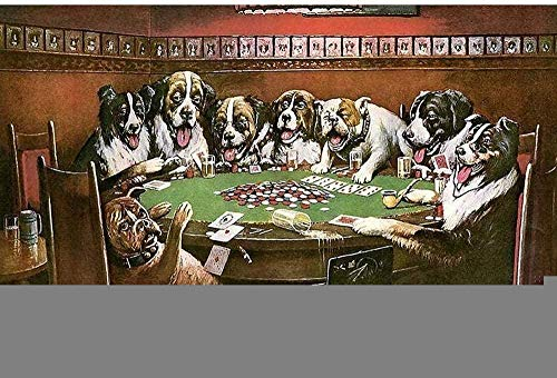 HBGLX 5D Poker Casino Dog Pinturas de diamantes completos Kits de punto de cruz Arte Animal Pintura 5D Por diamantes Decoración del hogar 40X50Cm