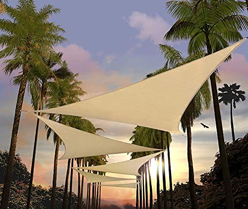 Tenda a Vela ombreggiante, Tenda da Sole Impermeabile, Protezione Raggi UV, Vela Parasole, Adatto per Esterni, Terrazza, Giardino (300X300X300 cm Triangolare)