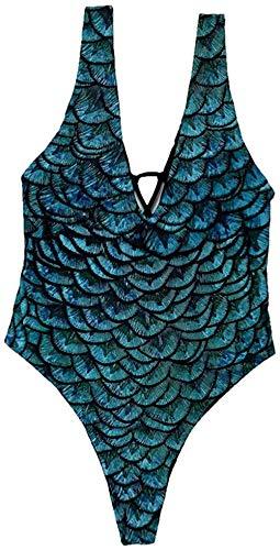 Itvip - Conjunto de bikini sexy para mujer con estampado de pez y escala, bañador de una pieza XL Verde