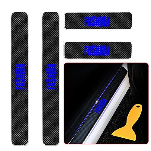 for Prius Verso Avensis GT86 Land Cruiser CH-R Hilux 4D Carbon Einstiegsleisten Deko Folie, Lackschutzfolie Selbstklebend, Lackschutz Aufkleber mit Wort Fashion Blau 4 Stück