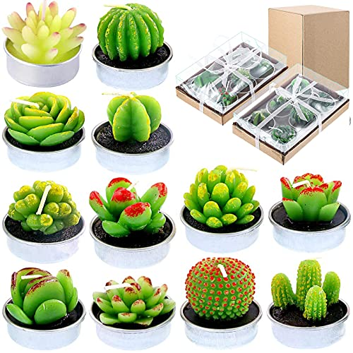 12Pcs Cactus Tealight Candles Succulent Candles Cactus Candle for Party Favors Home Decor Wedding Spa Gifts