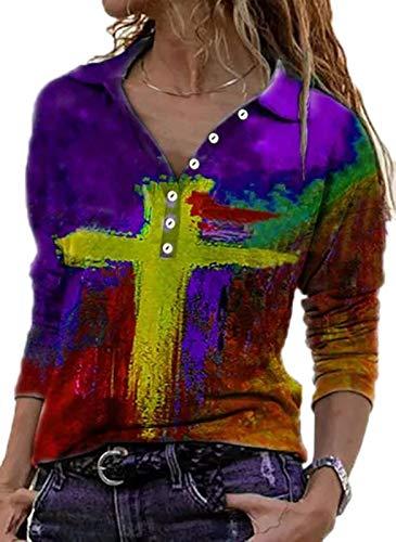 Camisetas Henley para Mujer Blusa túnica Camisas con Cuello en V y Botones Superiores de Manga Larga, Camisetas Estampadas para Mujer Blusas túnicas