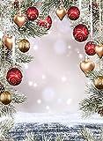 Fotografía Bolas de Fondo Nieve Madera Navidad Celebración de Vacaciones Decoración Fondo fotográfico Accesorios de Estudio fotográfico A10 7x5ft / 2.1x1.5m
