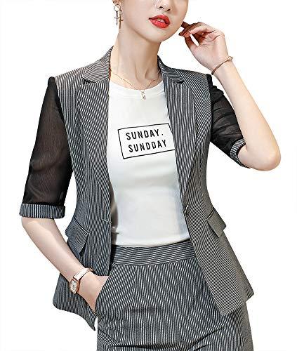 LISUEYNE Dames Casual Streep Een Knop Blazer Jas Slim Fit Werk Office Blazer Jas voor Vrouwen