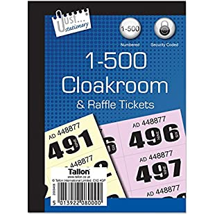 Just Stationery 1-500 Cloakroom Ticket