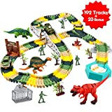 Meland Dinosaur Race Track Car Toy Set - 192pcs Flexible Trains Tracks + 23 Dinosaur Toys Accessories Playset Gifts for 3 4 5 6 7 8 Year Old Boys with 4 Dinosaurs, 2 Race Cars