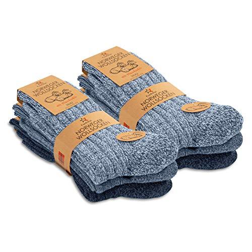 Footstar Herren Winter Wollsocken (6 Paar) Norweger Socken mit Frottee Plüschsohle - Blautöne 39-42