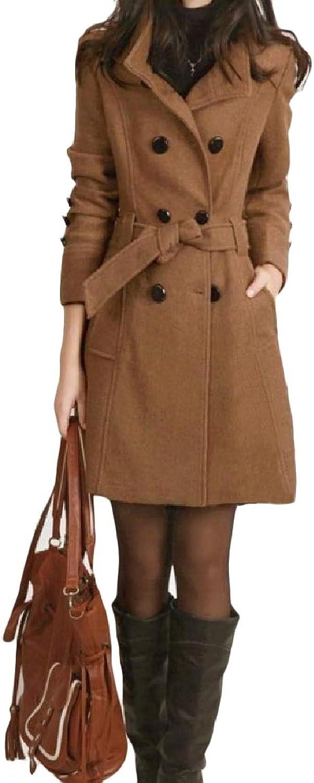 TaoNice Women Smocked Waist Pocketed Double Breasted LongSleeve Woolen Coat