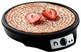 New House Kitchen Electric Griddle & Crepe Maker w/Precise Temperature Control, 12' Non-Stick Grill Pan, Pancake Maker, Used for Omelets, Roti, Blintzes & Eggs, Includes Batter Spreader & Spatula