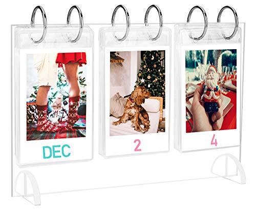 WINKINE Desktop Mini Photo Album Collection|Acrylic Tabletop Flip Calendar-Style Photo Frame|for Instax Mini 7s 8+ 9 25 26 50s SP-2 Film|Polaroid Snap PIC-300 Z2300 Gift 26 Pocket|52 Photo Display