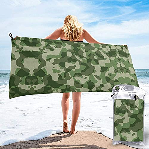 Toalla de baño Verde Camuflaje, Toalla de Playa, Uso Multiusos para Deportes, Viajes, súper Absorbente, Microfibra de Secado rápido Suave, ligero-blanco-31.5 'x63