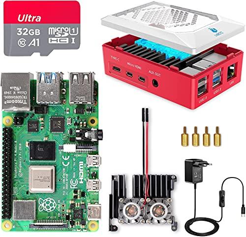 Raspberry Pi 4 8GB RAM con Tarjeta SD de 32GB Precargada con Raspberry Pi OS, Cable 5V 3A con On/Off, 2 Micro HDMI, Gran Disipador de Calor, 2 Ventilador, Caja Roja y Lector de Tarjetas