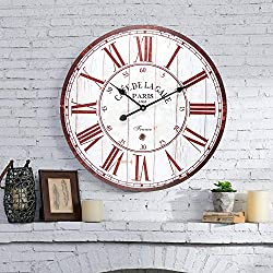 Vintage Wall Clock, French Country Wooden Decorative Clock with Roman Numerals, Silent Battery Operated Clock for Living Room, Bedroom, Office, Kitchen, Farmhouse - 24 Inch, Red & White
