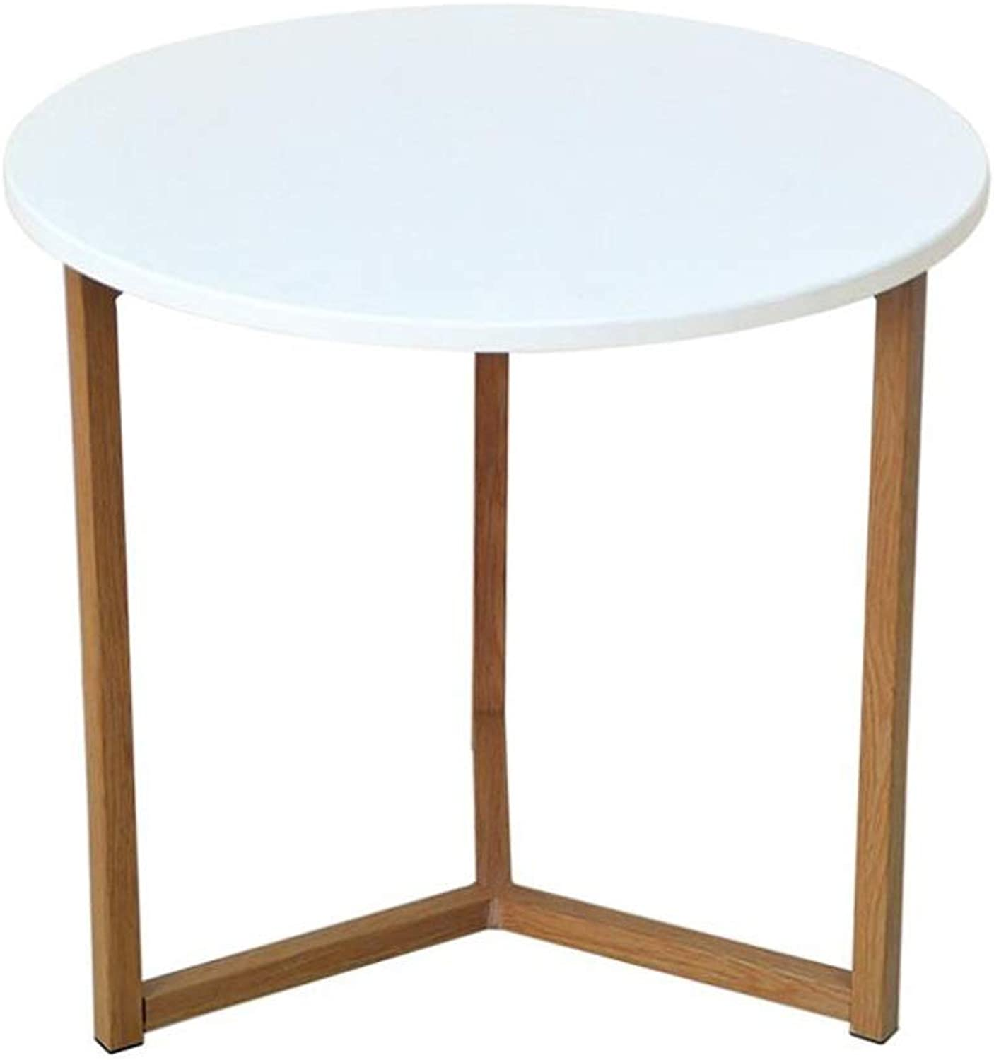 End Table, Round Coffee Table End Table with Natural Oak Wood Legs Living Room Sofa Multi-Function Side (Size   40CM)