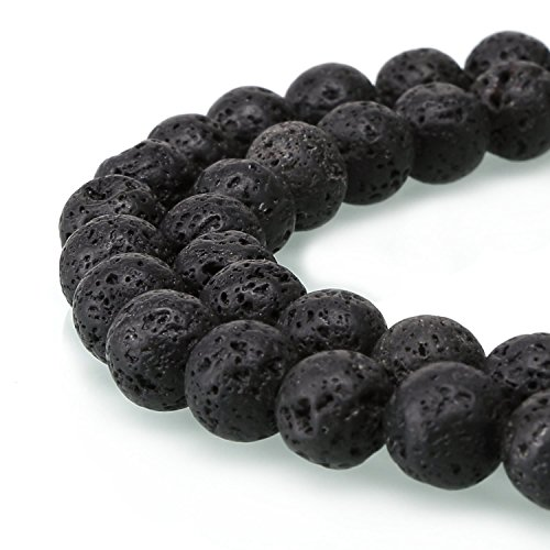 2 Strands Top Quality Natural Black Volcanic Lava Rock Gemstone 4mm Round Loose Stone Beads (~ 178-188pcs total) for Jewelry Craft Making GY18-4
