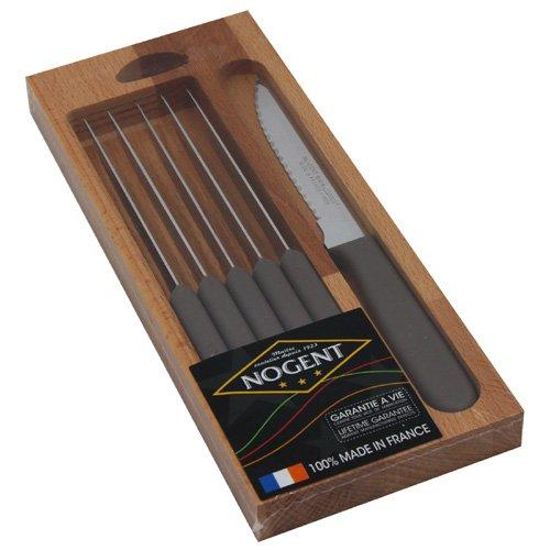 Nogent 03063R - Cofanetto con Set di 6 coltelli da Carne, Lama in Acciaio temprato e Manico in Polipropilene, 26 x 10,5 x 2 cm, Colore Tortora
