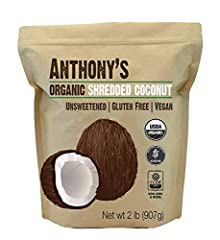 USDA Certified Organic Shredded Coconut Batch Tested and Verified Gluten Free High in Fiber & Protein - perfect for baking Finest Shredded Unsweetened Coconut Available Pure Shredded Coconut, No additional additives